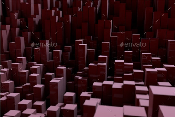Background with Rectangular Pillars, 3d Rendering with Depth of Field - Tech / Futuristic Backgrounds