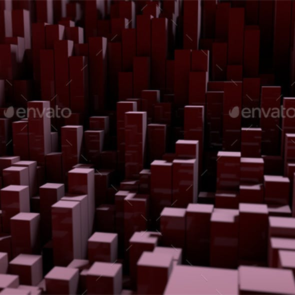 Background with Rectangular Pillars, 3d Rendering with Depth of Field