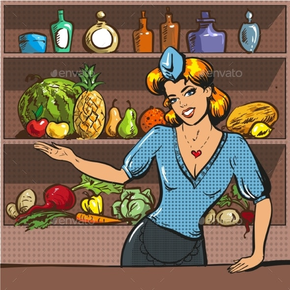 Vector Pop Art Illustration of Woman with Fruit - Food Objects