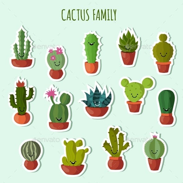 Funny Plants Vector Collection.