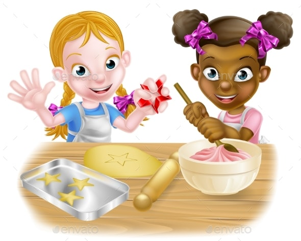 Girls Baking Cakes - Miscellaneous Vectors
