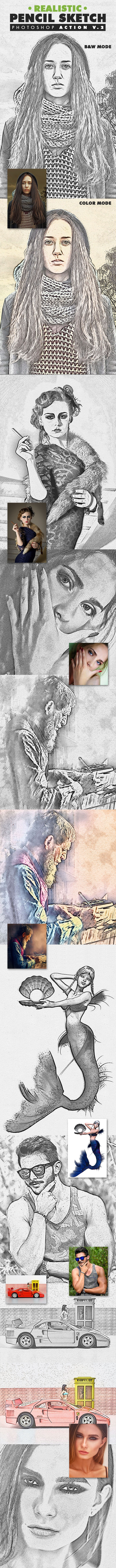 Realistic Pencil Sketch Photoshop Action Vol.2 - Photo Effects Actions