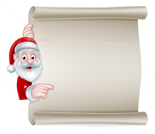 Cartoon Santa Christmas Scroll Sign - Christmas Seasons/Holidays