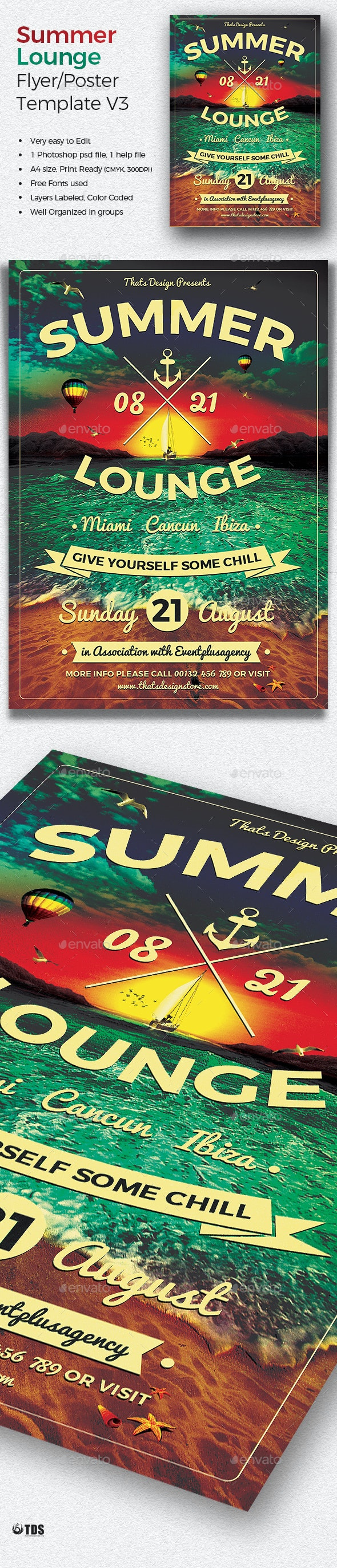 Summer Lounge Flyer Template V3 - Clubs & Parties Events