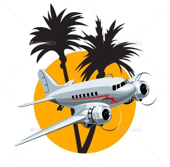Cartoon Retro Airplane - Man-made Objects Objects
