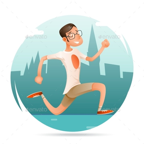 Running Geek Hipster Smiling Sport Man Character - Sports/Activity Conceptual