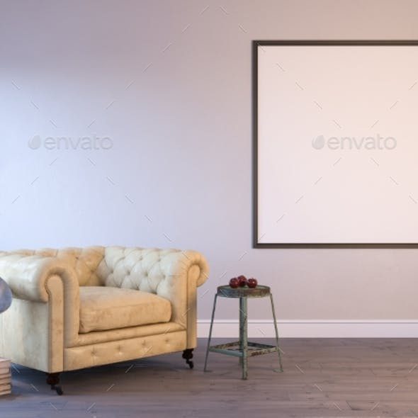 3d Render of a Interior Mock-up with a Poster