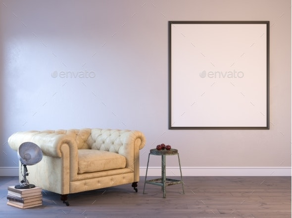 3d Render of a Interior Mock-up with a Poster - Architecture 3D Renders