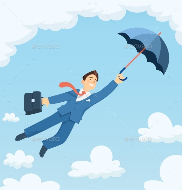 Businessman Flying with Umbrella in Sky - People Characters