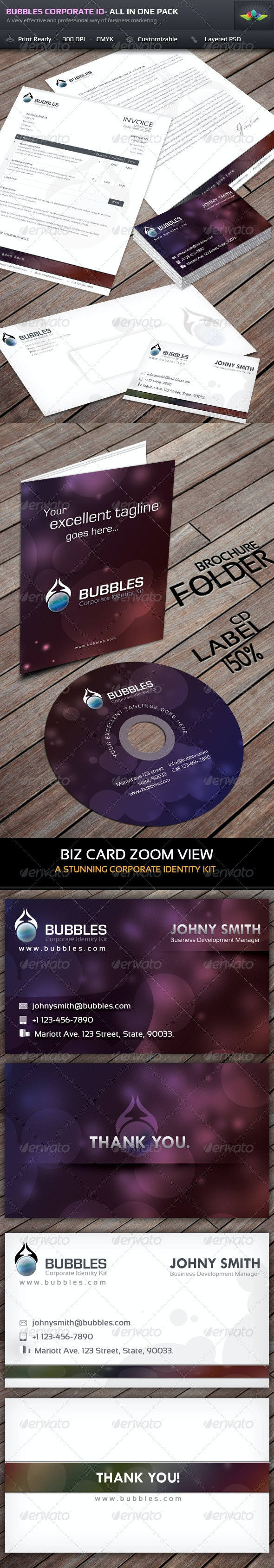 Bubbles Corporate Identity - All In One Pack - Stationery Print Templates