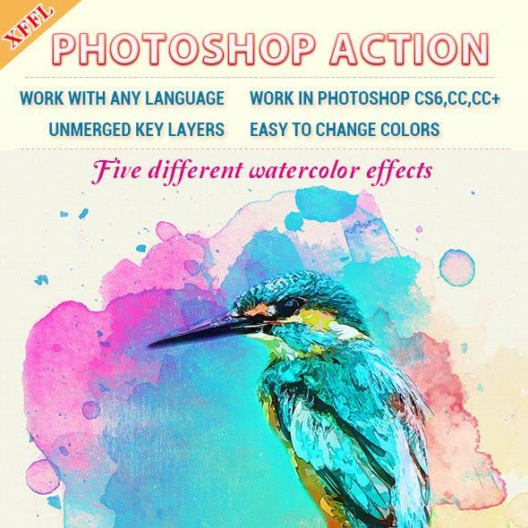 Watercolor Art V1 Photoshop Action
