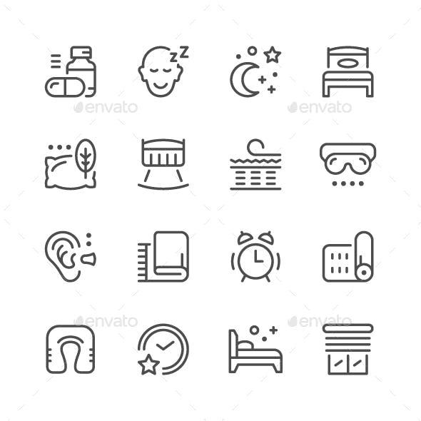 Set Line Icons of Sleep