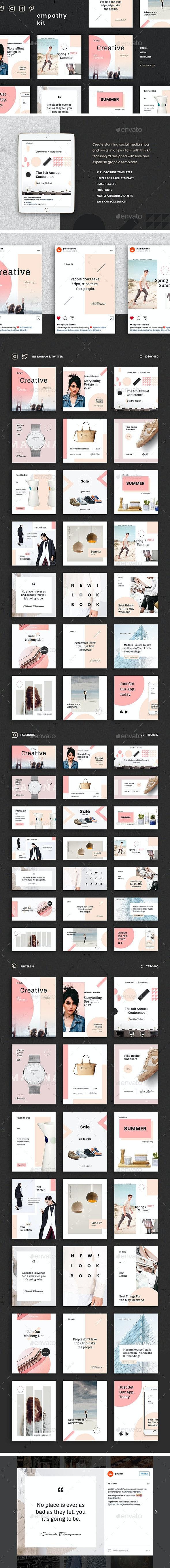 Empathy Social Media Kit: Instagram, Pinterest, Twitter & Facebook Templates - Social Media Web Elements