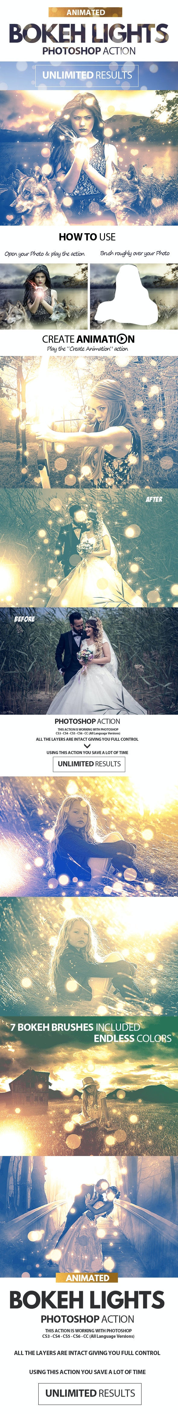 Animated Bokeh Lights Photoshop Action - Photo Effects Actions