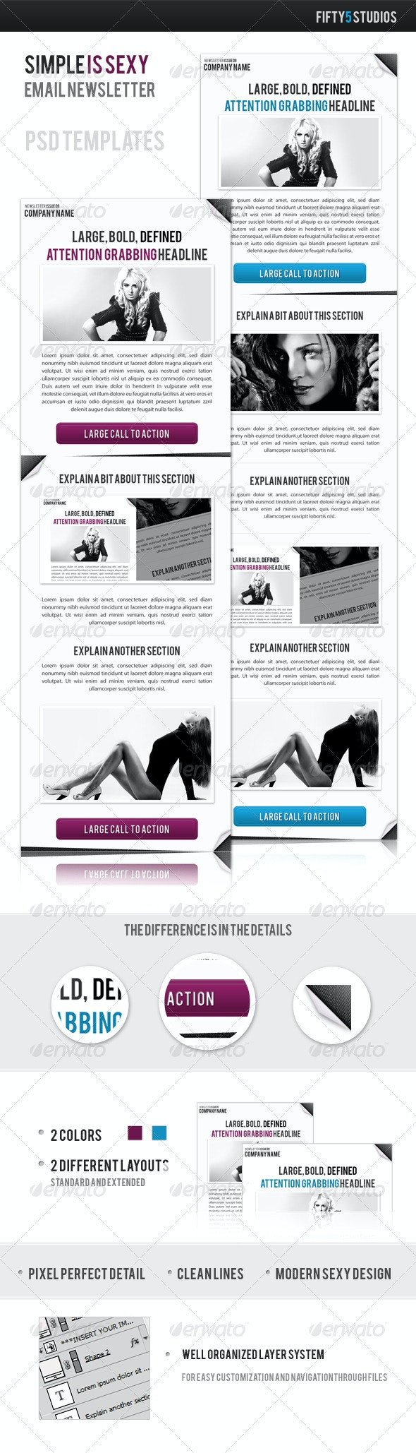Simple is Sexy Email Newsletter Template - E-newsletters Web Elements
