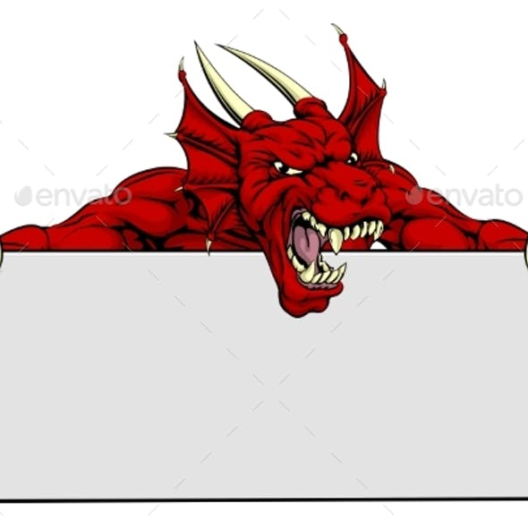 Red Dragon Sports Mascot Sign
