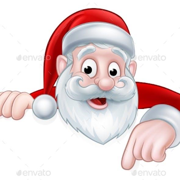Peeking Cartoon Santa Pointing Down