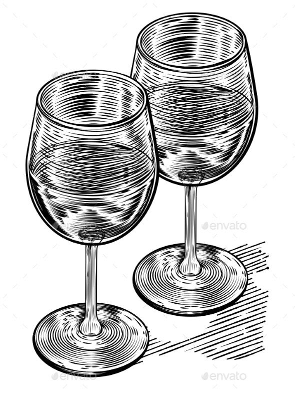 Vinatge Woodblock Style Wine Glasses - Miscellaneous Vectors
