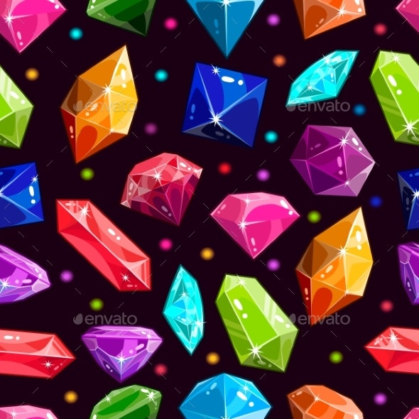 Seamless Pattern with Jewels and Diamonds - Backgrounds Decorative