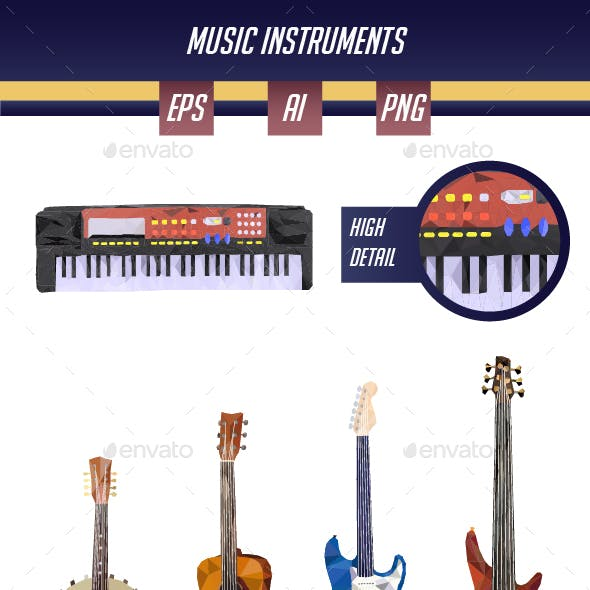 Music Instruments in Low Poly Art