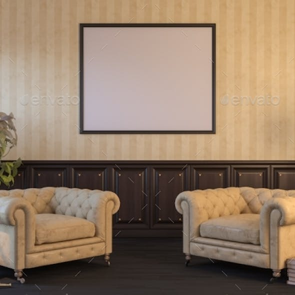 3d Render of an Interior Mock Up with a Poster