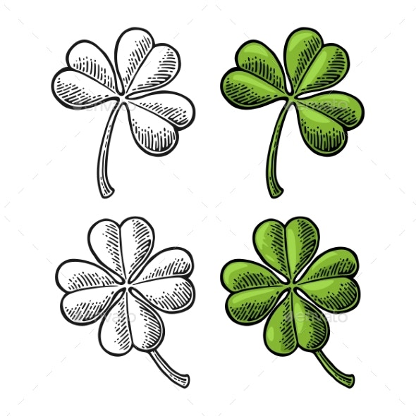 Good Luck Four and Three Leaf Clover. Vintage - Miscellaneous Vectors