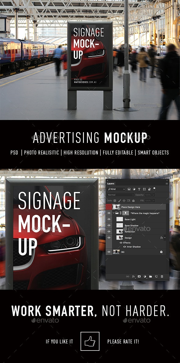 Smart Advertising Signage Mockup PSD Template - Signage Print
