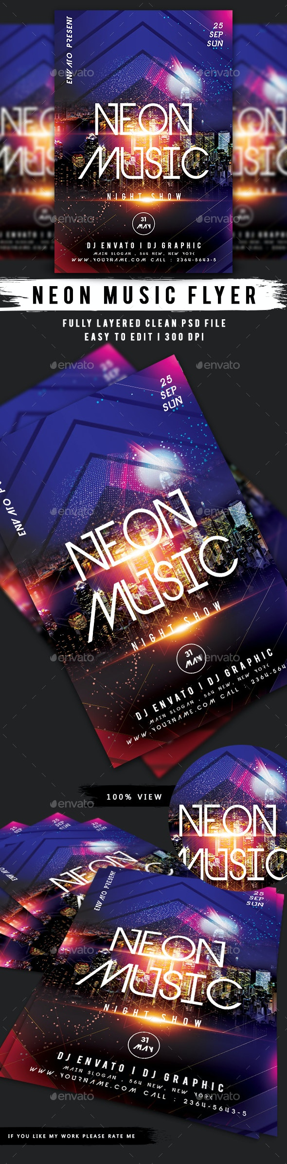 Neon Music Flyer - Clubs & Parties Events