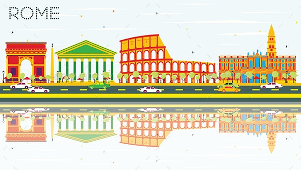 Rome Skyline with Color Buildings, Blue Sky and Reflections. - Buildings Objects