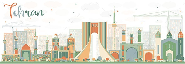 Abstract Tehran Skyline with Color Landmarks. - Buildings Objects