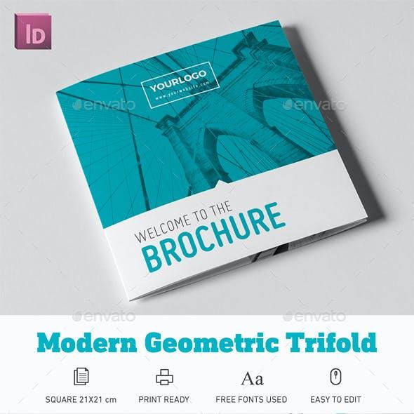 Modern Geometric Square Trifold Brochure