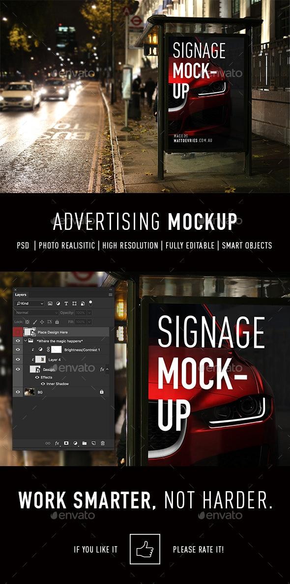 Smart Signage Advertising Mockup PSD Template - Signage Print