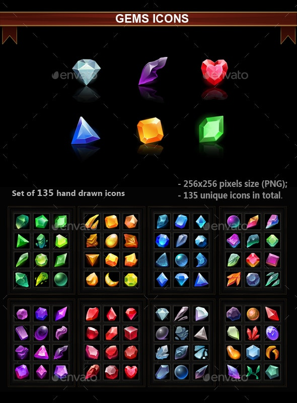 Gems Icons - Miscellaneous Game Assets