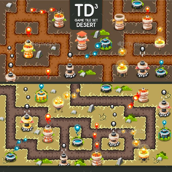 Tower Defence Game Tile Set Three