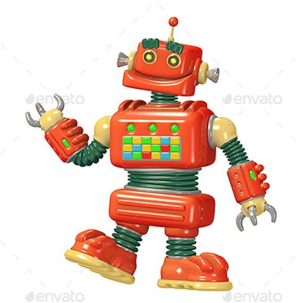 Cartoon Red Robot 3D Illustration