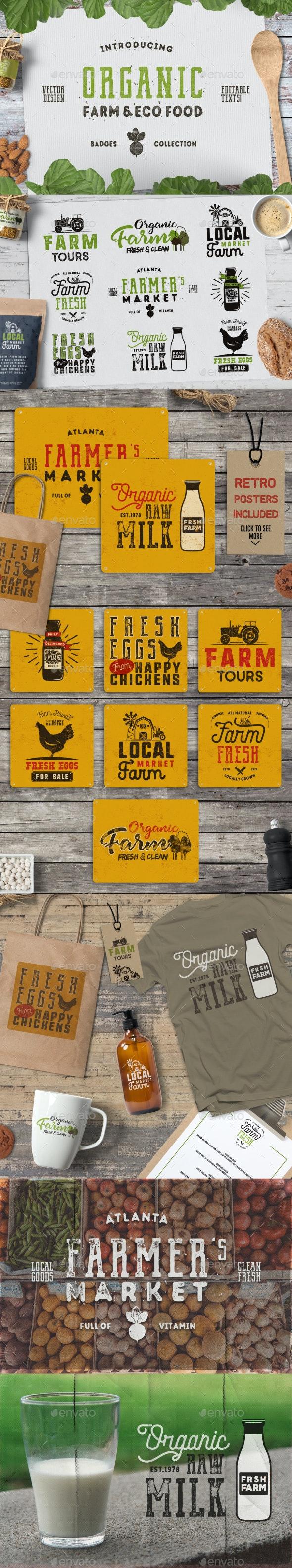 Organic Farm & Eco Food Badges - Badges & Stickers Web Elements