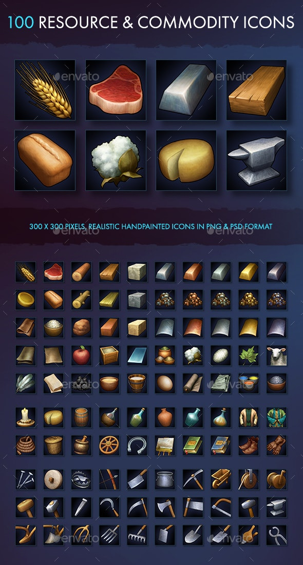 Resource Commodity and Tool Icons - Miscellaneous Game Assets
