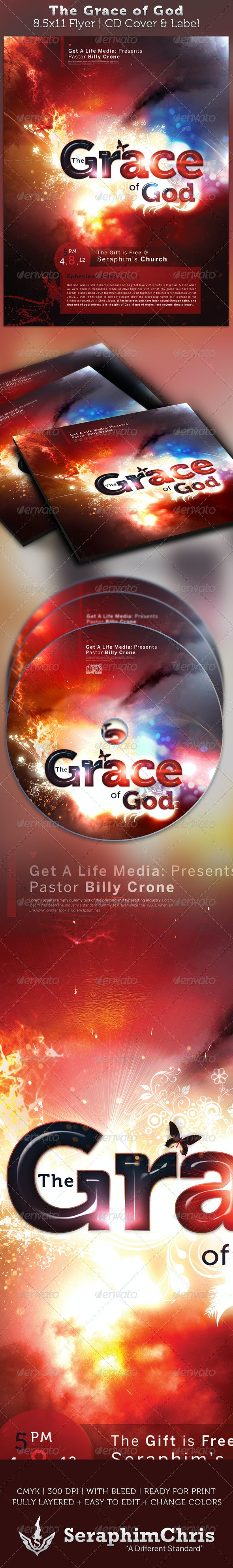 The Grace of God Full Page Flyer and CD Cover      - Church Flyers
