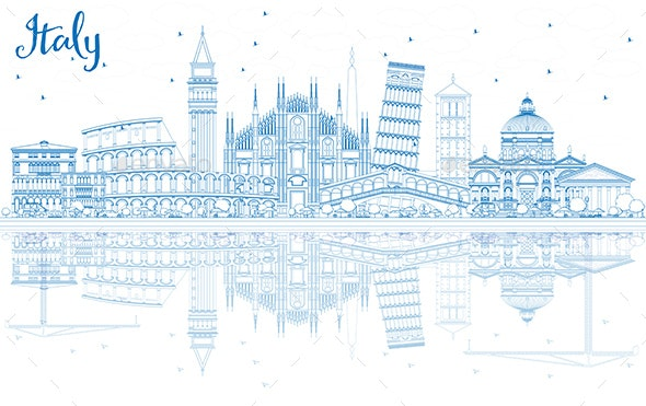 Outline Italy Skyline with Blue Landmarks and Reflections. - Buildings Objects