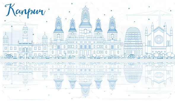 Outline Kanpur Skyline with Blue Buildings and Reflections. - Buildings Objects