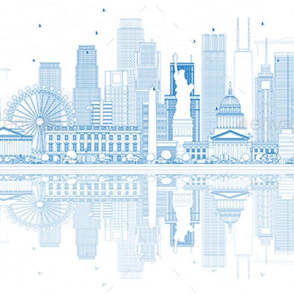 Outline USA Skyline with Blue Skyscrapers and Landmarks