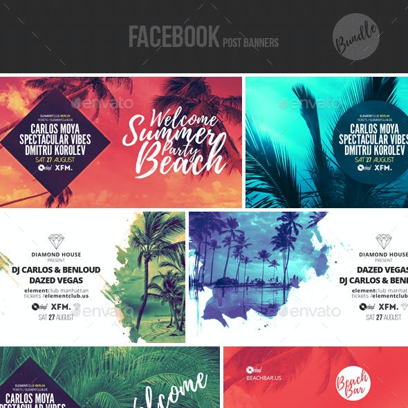 Electronic Music Event Facebook Post Banner Templates Bundle 4