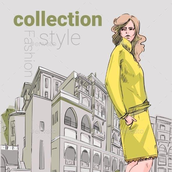 Fashion Collection Style Model Girl Wear Elegant