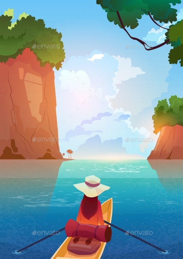 Woman Floating In Boat In Mountains Lake Summer - Sports/Activity Conceptual