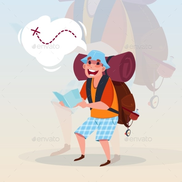 Man Backpacker Holding Map Traveler Hiling - Sports/Activity Conceptual