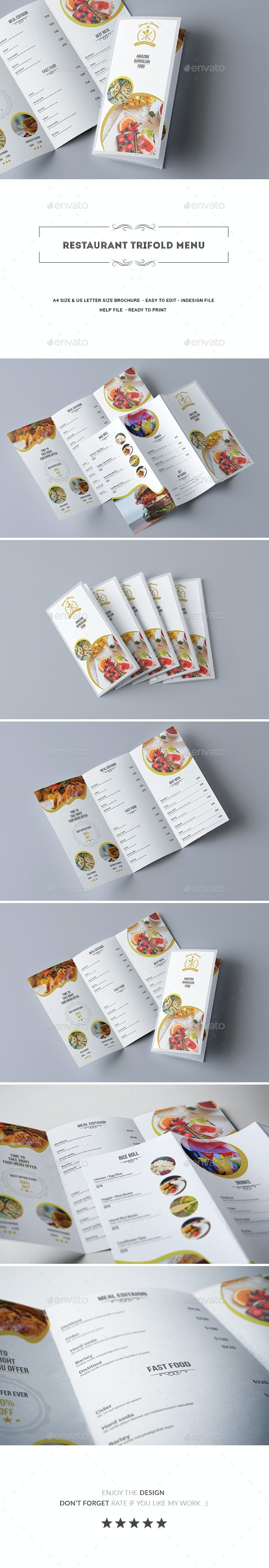 Restaurant Trifold Menu - Food Menus Print Templates