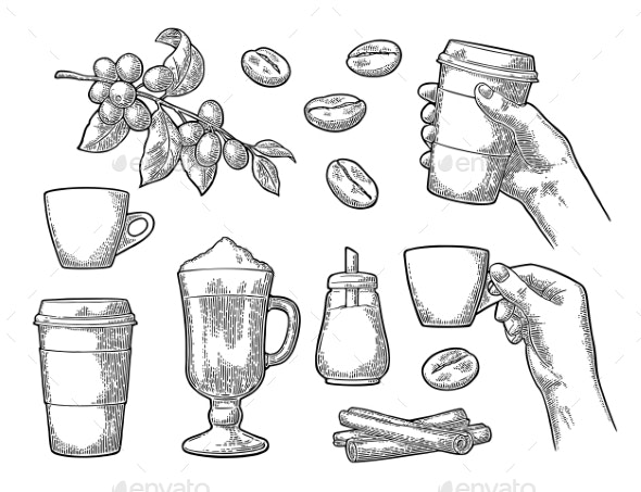 Set of Coffee - Food Objects