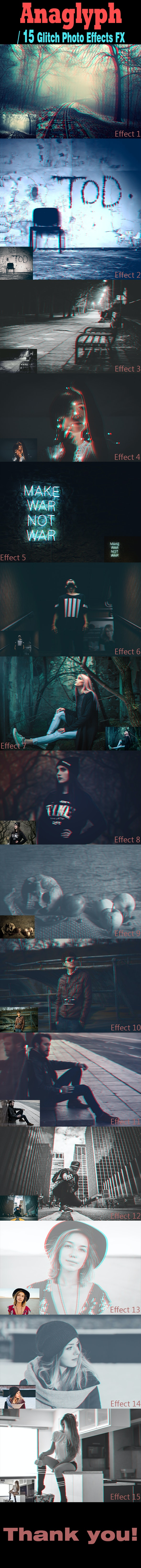 15 Anaglyph-Glitch Effects Action - Photo Effects Actions