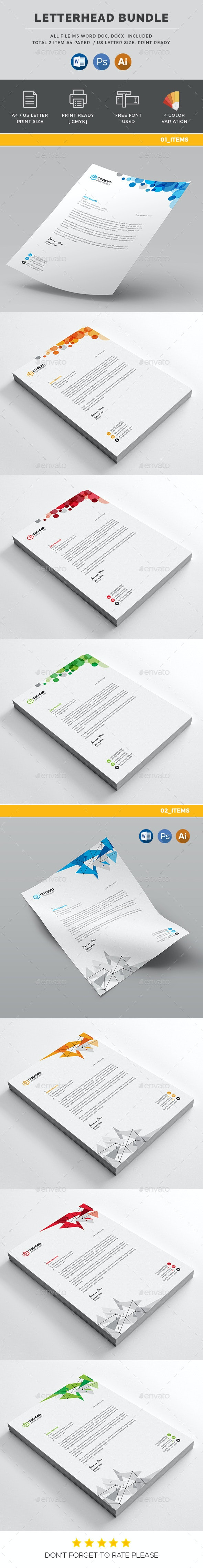 Letterhead Bundle_ 2 in 1 - Stationery Print Templates
