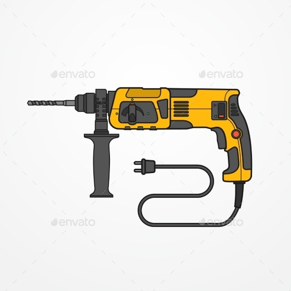 Rotary Hammer Vector Image - Man-made Objects Objects